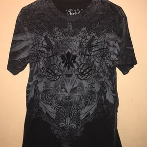 Archaic by Affliction Black Le Fleur Men's Shirt